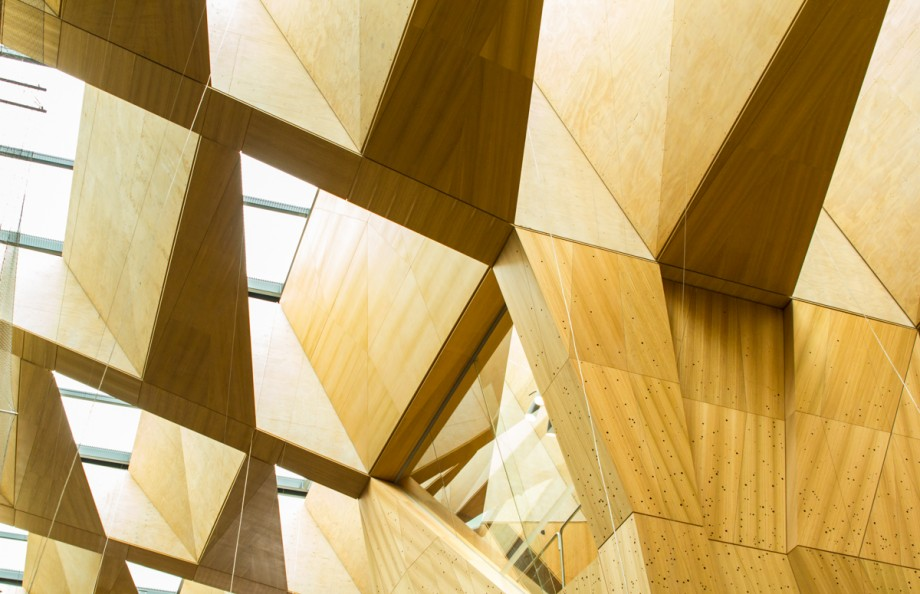 'Tasmanian Ash veneers' at The Atrium in Melbourne School of Design. A winner of last years awards by John Wardle Architects and NADAA. Image by Bianca Morgans